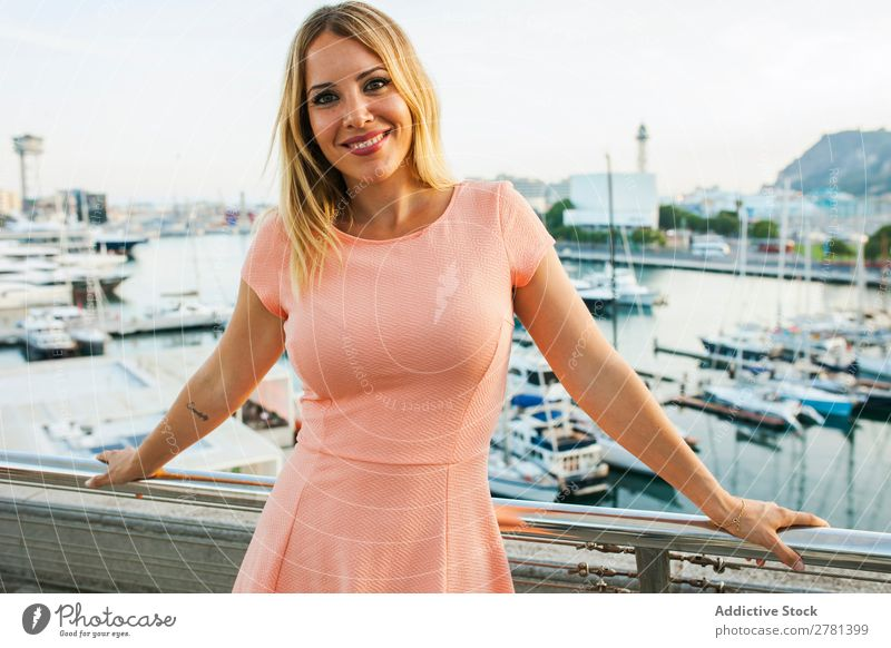 Content model on background of harbor Woman Posture romantic Harbour Traveling Leisure and hobbies Dream Charming Summer Cheerful Tourist Feminine