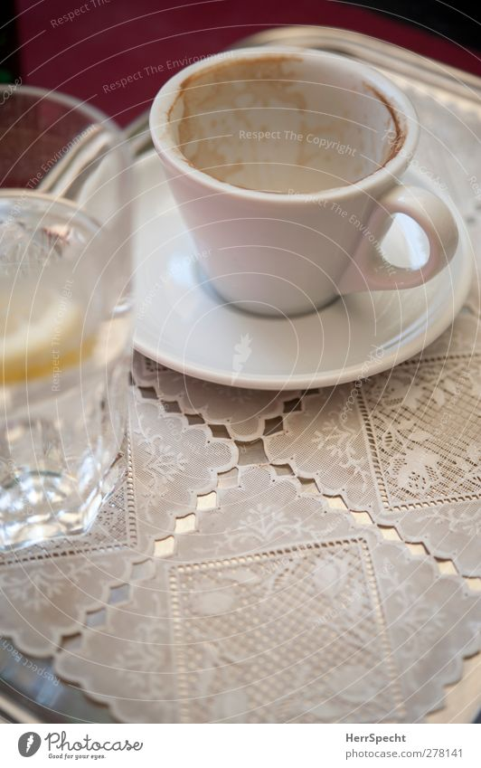 coffee break To have a coffee Beverage Cold drink Hot drink Drinking water Coffee Cup Glass Restaurant Metal To enjoy White Cappuccino Café Tray Lace Empty