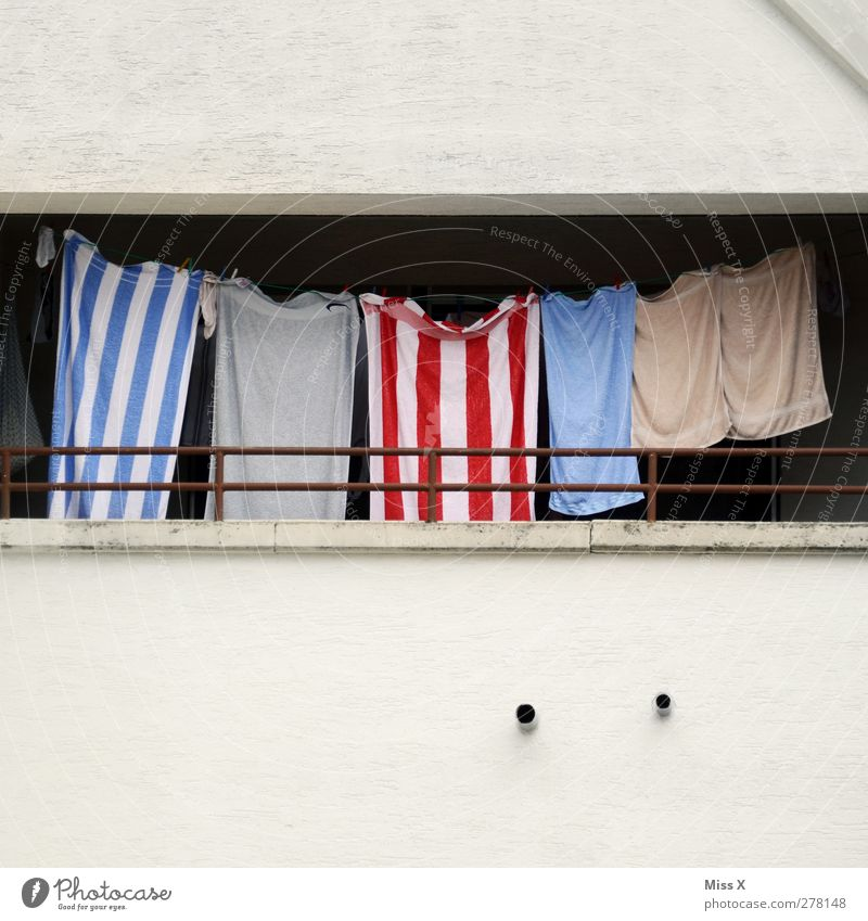 Friday underwear Balcony Hang Wet Washing day Laundry Clothesline Dry Towel Bath towel Striped Wall (barrier) Colour photo Multicoloured Exterior shot Deserted