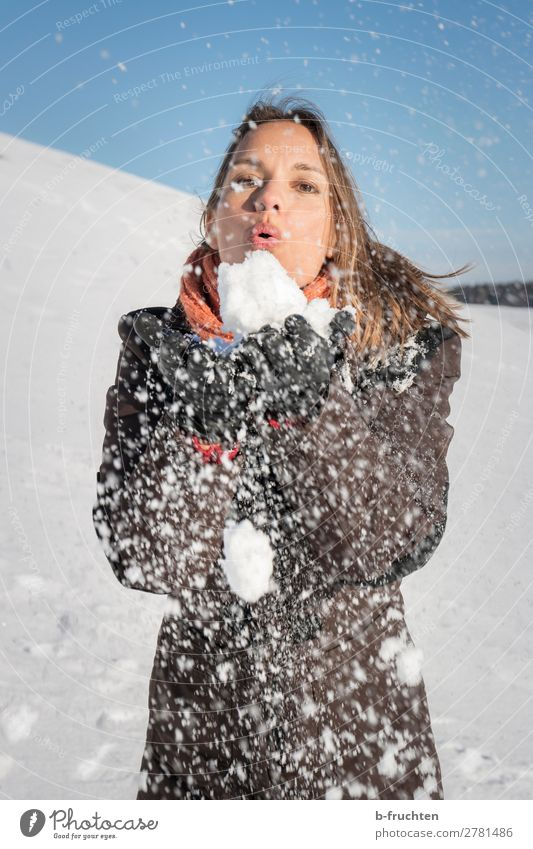 Woman Human being Sky Hand Joy Winter Face Adults Cold Snow Happiness Joie de vivre (Vitality) Touch Hill To hold on Blow