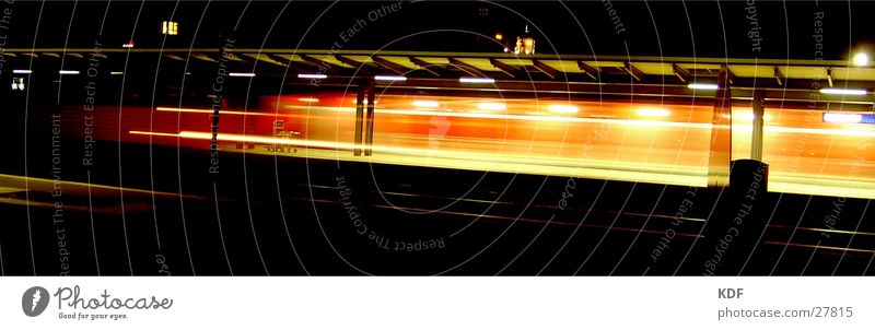 train Night Long exposure Railroad Bremen Light Movement Yellow Red Speed Train station Station Arrival Lomography db KDF Miss out Ski-run