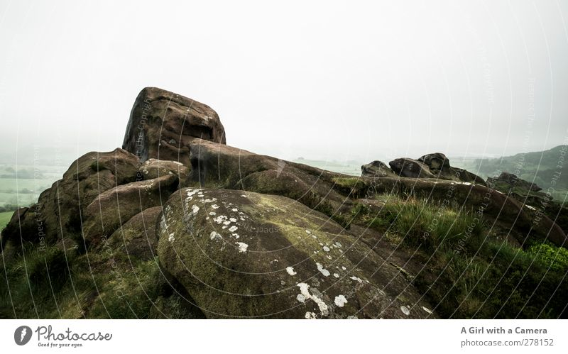 Arrived at the top Environment Nature Landscape Plant Sky Clouds Spring Bad weather Fog Moss Hill Rock Mountain Peak Tall Gray Green Old Above Hard England