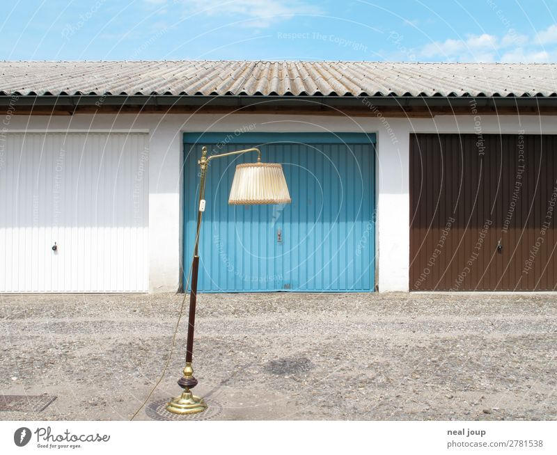 Blue Loneliness Lamp Decoration Gloomy Stand Poverty Wait Romance Uniqueness Concrete Clean Kitsch Moving (to change residence) Relationship Trashy