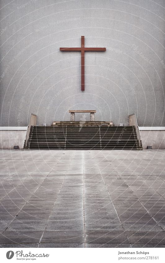 Gray Religion and faith Stone Line Stairs Large Places Concrete Church Esthetic Perspective Hope Middle Christian cross Crucifix Prayer