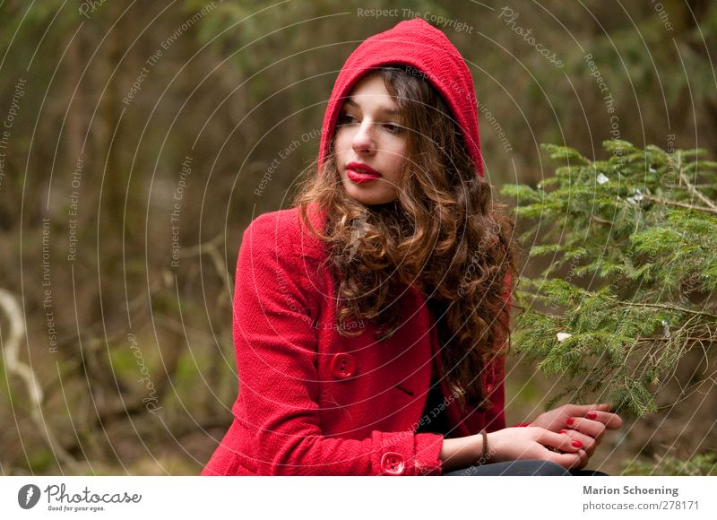 submerged Feminine Young woman Youth (Young adults) 1 Human being Forest Dream Red Little Red Riding Hood Fairy tale Colour photo Exterior shot