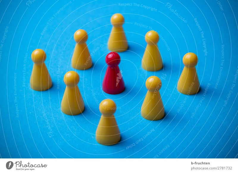 Group of game pieces Business Company Team Toys Sign Network Work and employment Select Observe Communicate Blue Yellow Red Identity Uniqueness Planning Divide