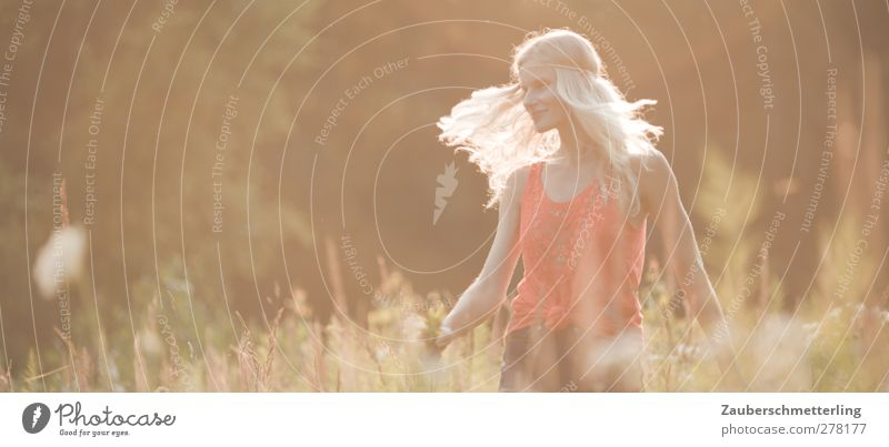 summer fairy dance Joy Freedom Summer Feminine Young woman Youth (Young adults) 1 Human being Nature Blonde Long-haired To enjoy Smiling Dance Dream