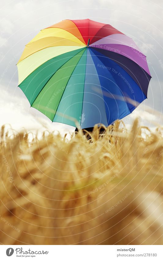 let it rain. Art Esthetic Umbrella Prismatic colors Field Cornfield Multicoloured Modern Creativity Idea Weather Bad weather Weather protection Protection