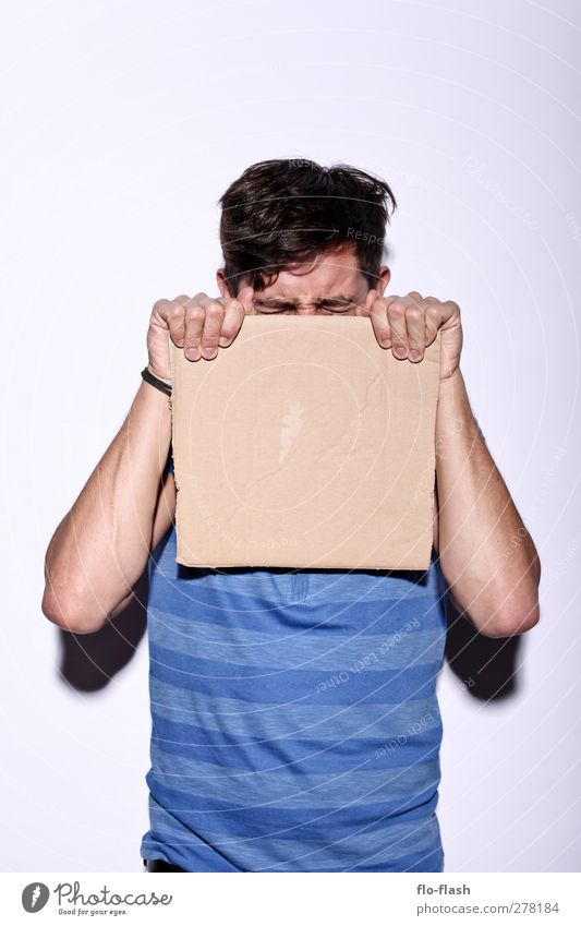 Hold the cardboard Hair and hairstyles Handicraft Advertising Industry Masculine Young man Youth (Young adults) Man Adults 1 Human being 18 - 30 years