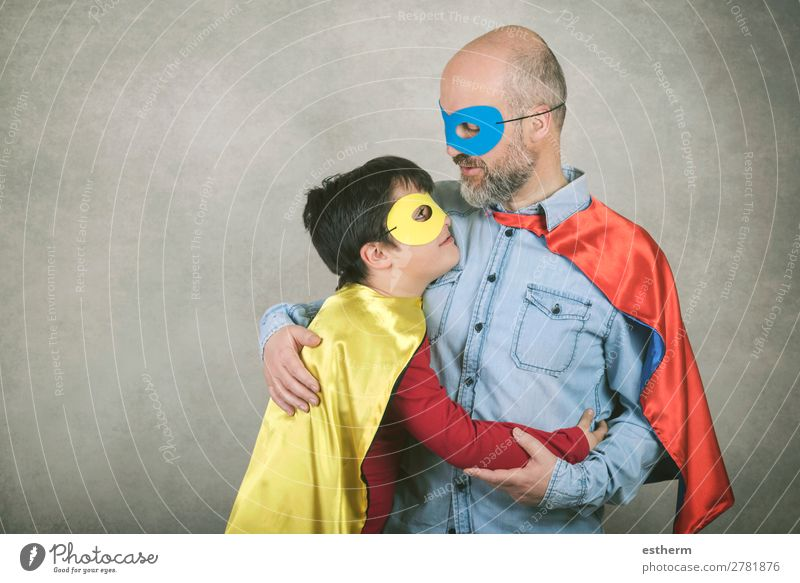 Father's day,father and son dressed as a superhero Lifestyle Feasts & Celebrations Hallowe'en Fairs & Carnivals Success Human being Masculine Child Man Adults