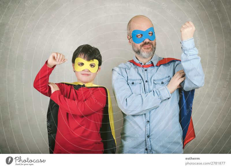 Father's day,father and son dressed as a superhero Lifestyle Joy Feasts & Celebrations Carnival Hallowe'en Fairs & Carnivals Success Human being Masculine Child