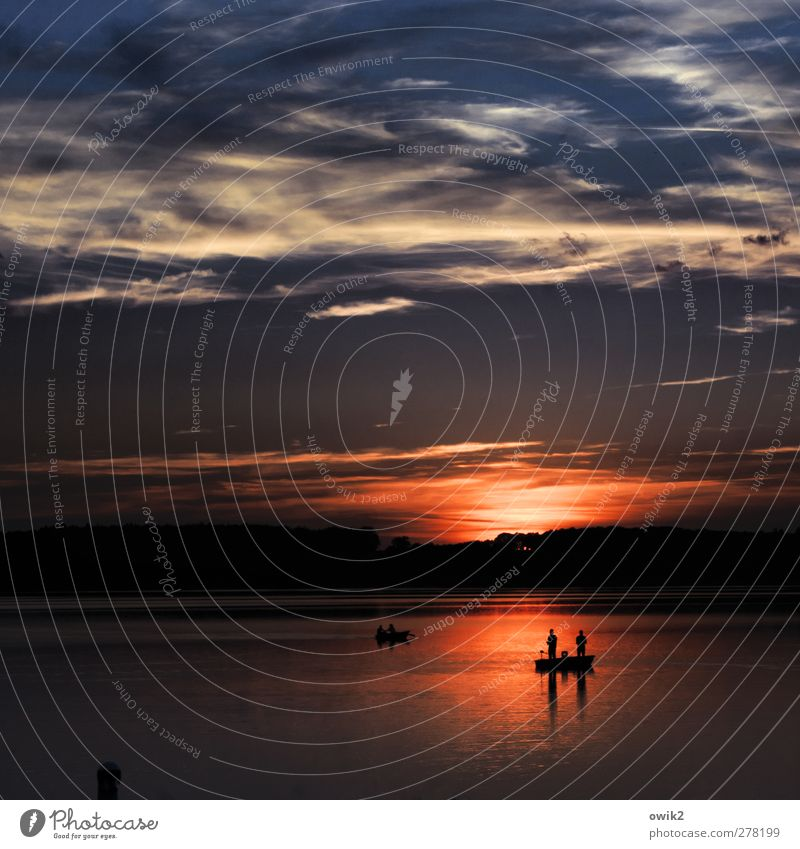 night angler Human being Environment Nature Landscape Air Water Sky Clouds Horizon Climate Weather Beautiful weather Lake Relaxation To enjoy Illuminate Wait