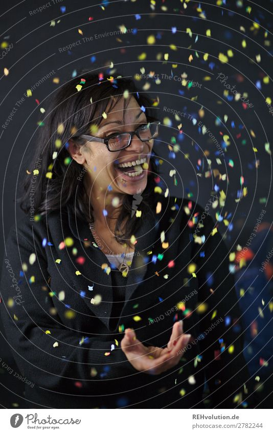 Confetti portrait Lifestyle Feasts & Celebrations Human being Feminine Woman Adults 1 30 - 45 years Eyeglasses Black-haired Long-haired Decoration Smiling