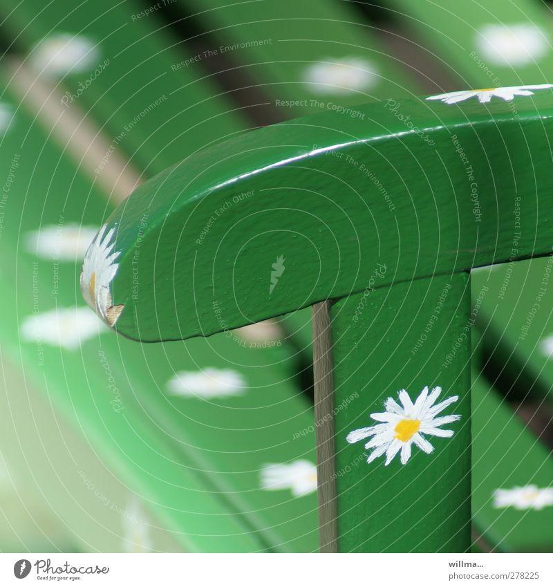 Green Beautiful Colour Relaxation Design Idyll Bench Backrest Wooden bench Flowery pattern Garden bench
