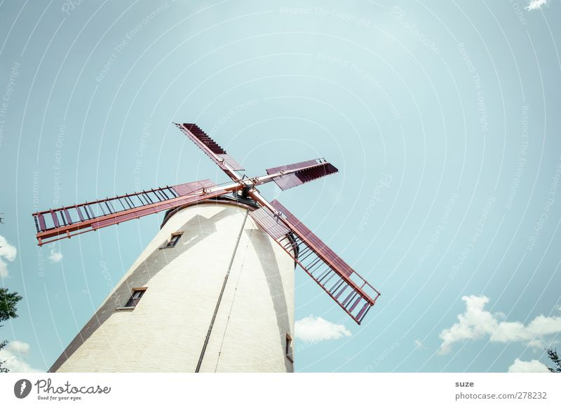 windmill Agriculture Forestry Craft (trade) Environment Nature Landscape Sky Weather Beautiful weather Manmade structures Building Old Bright Historic Blue