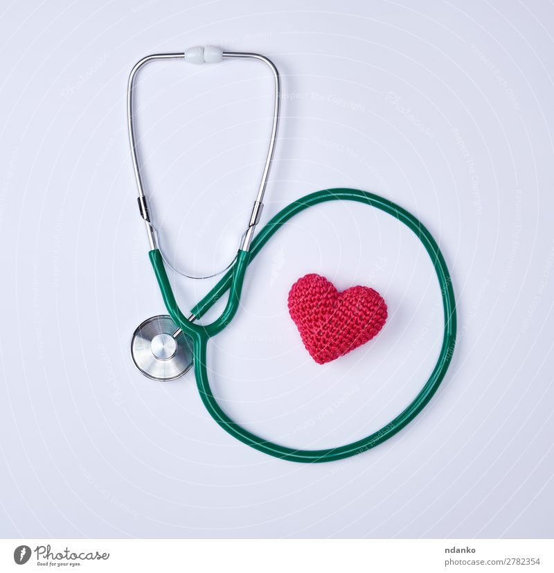 green medical stethoscope and red heart Health care Medical treatment Illness Medication Hospital Tool Heart Listening Red White Emergency heart shape