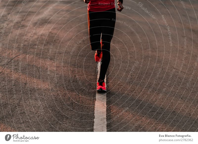 young runner man running on the road Human being Youth (Young adults) Man Town Young man Lifestyle Legs Adults Sports Movement Leisure and hobbies Masculine