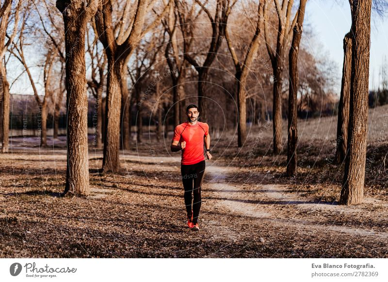young runner man by the mountain Lifestyle Leisure and hobbies Sports Jogging Human being Masculine Young man Youth (Young adults) Man Adults 1 30 - 45 years