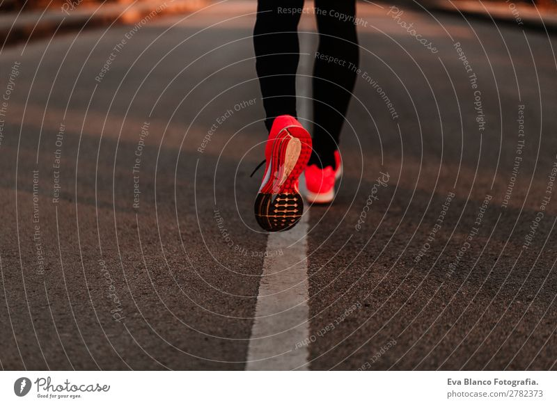 young runner man running on the road Lifestyle Leisure and hobbies Sports Jogging Human being Masculine Young man Youth (Young adults) Man Adults Legs Feet 1
