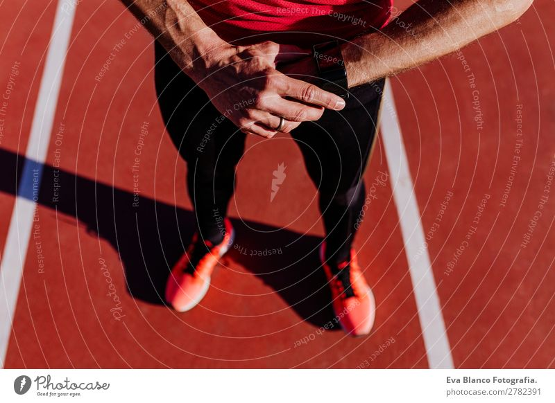 runner at the stadium. sport concept Lifestyle Leisure and hobbies Sports Fitness Sports Training Track and Field Jogging Stadium Human being Masculine