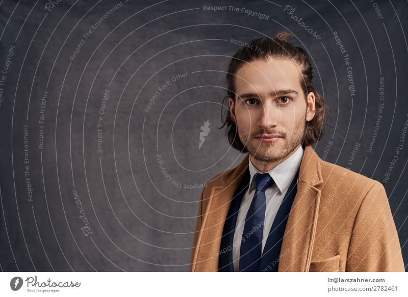 Handsome long-haired man in blazer and blue tie Roll Elegant Style Face Winter Success Business Man Adults 1 Human being 18 - 30 years Youth (Young adults)