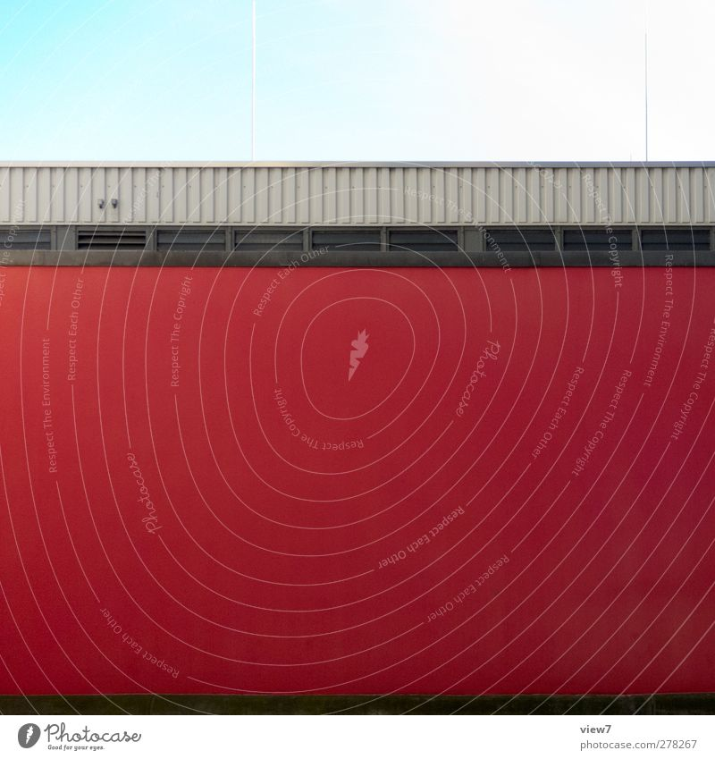 Red One House (Residential Structure) Industrial plant Manmade structures Building Architecture Wall (barrier) Wall (building) Facade Window Stone Concrete Line