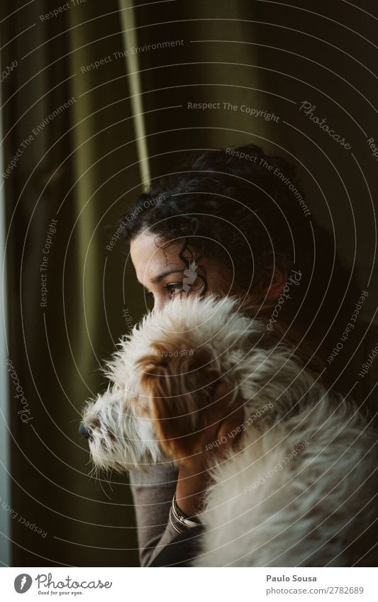 Woman and dog Human being Feminine Young woman Youth (Young adults) 1 18 - 30 years Adults Pet Dog Animal Observe Think Sit Dream Wait Authentic Friendliness
