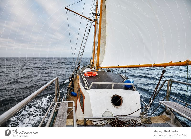 Sailing an old schooner on a rainy day Lifestyle Vacation & Travel Trip Adventure Far-off places Freedom Cruise Ocean Waves Sky Clouds Horizon Storm Transport