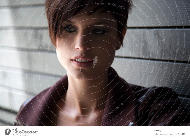 grEy Feminine Young woman Youth (Young adults) 1 Human being 18 - 30 years Adults Piercing Brunette Short-haired Beautiful Uniqueness Colour photo Exterior shot