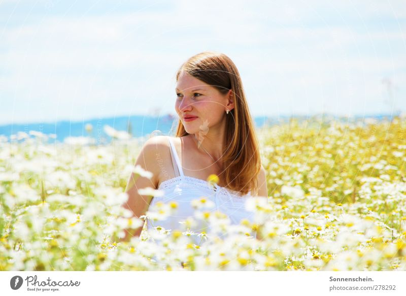 summer dreaming Contentment Summer Feminine Young woman Youth (Young adults) Head 18 - 30 years Adults Nature Landscape Sunlight Beautiful weather Flower