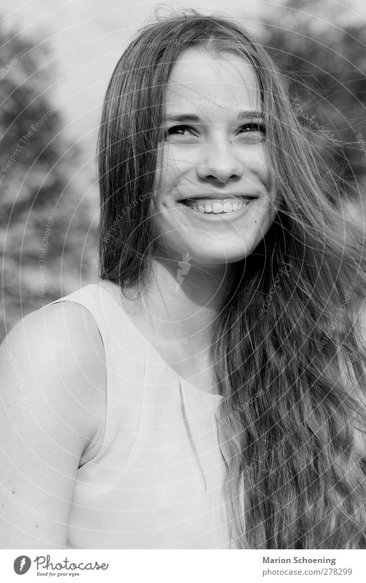 summer joy Feminine Young woman Youth (Young adults) 1 Human being Laughter Free Joy Happy Happiness Contentment Joie de vivre (Vitality) Black & white photo