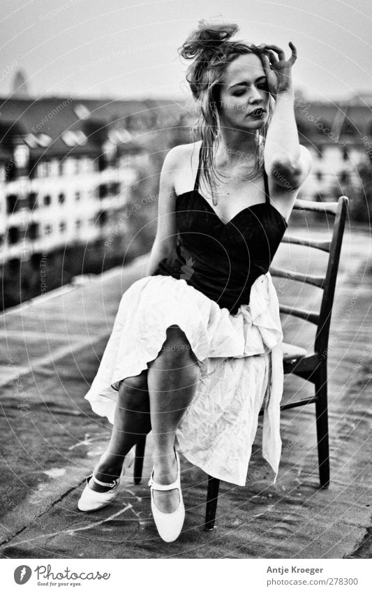 on the roof Feminine Young woman Youth (Young adults) 1 Human being 18 - 30 years Adults Sit Dream Emotions Moody Passion Esthetic Elegant To enjoy Creativity
