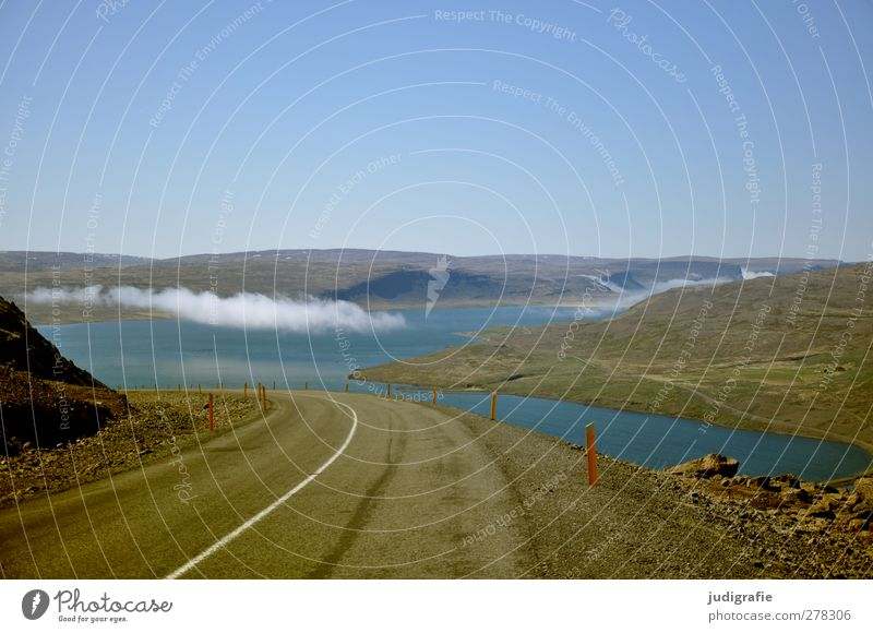 Iceland Environment Nature Landscape Sky Cloudless sky Clouds Climate Beautiful weather Hill Rock Fjord Transport Traffic infrastructure Street