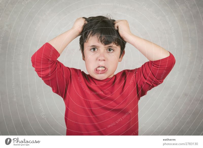 angry boy who pulls his hair Human being Masculine Child Infancy 1 8 - 13 years To talk Argument Sadness Aggression Crazy Anger Moody Concern Pain Dangerous