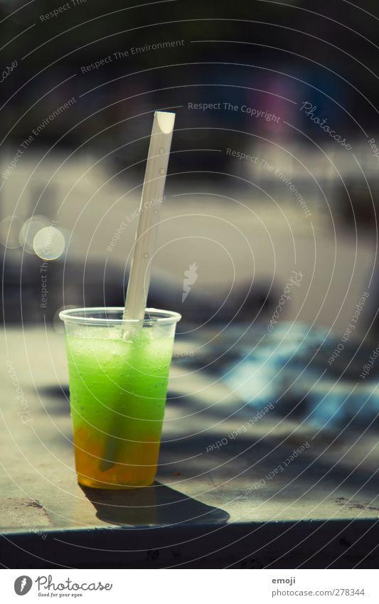 slush [b]ubble tea Nutrition Slow food Beverage Cold drink Lemonade Juice Mug Straw Delicious Green Colour photo Exterior shot Deserted Day