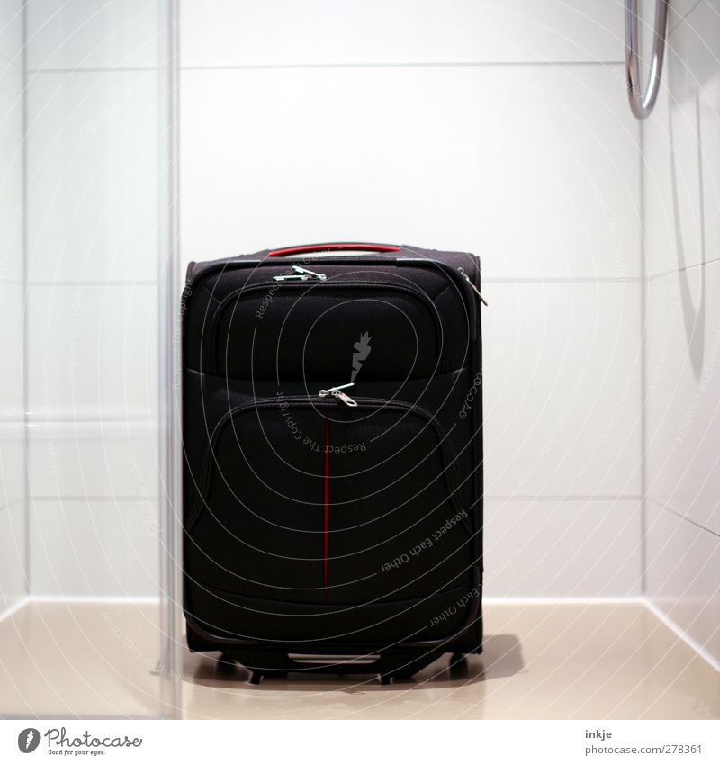 I have another suitcase in Berlin. Vacation & Travel Tourism Shower (Installation) Take a shower Bathroom Suitcase Tile Shower hose Stand Clean Black White