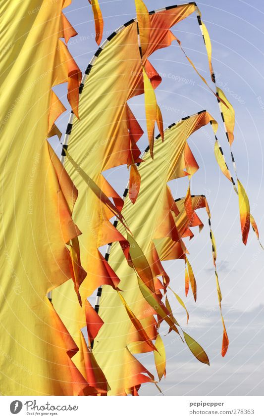 The sky burns Flag Movement Hang Yellow Orange Colour photo Exterior shot Deserted Day Blow Bright background