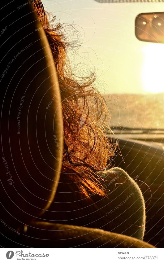 Human being Vacation & Travel Summer Sun Yellow Feminine Warmth Hair and hairstyles Car Gold Transport Trip Driving Vantage point Mirror Motor vehicle