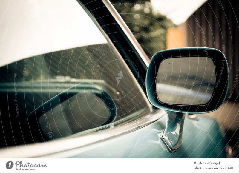 Look right through me Vehicle Car Vintage car Side mirror Chrome Car Window Mirror Reflection Blue Past Transience Blur Colour photo Subdued colour