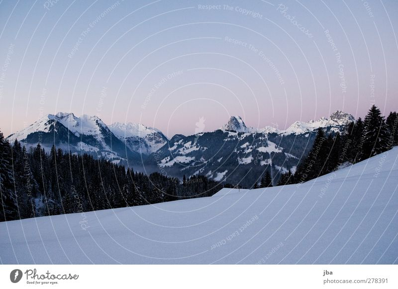 break of dawn Calm Freedom Winter Snow Winter vacation Mountain Nature Landscape Elements Water Cloudless sky Beautiful weather Alps Peak Saanenland Roof