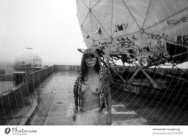 Death. Black & white photo Exterior shot 1 Person Individual Only one woman Breasts Womens upper body Mask Disguised Forward Strange Exceptional Radar station