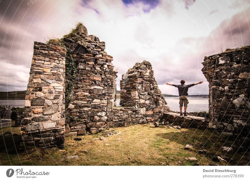 *700* Ireland i love you Masculine Young man Youth (Young adults) Man Adults Landscape Sky Clouds Summer Autumn Beautiful weather Grass Foliage plant Ruin