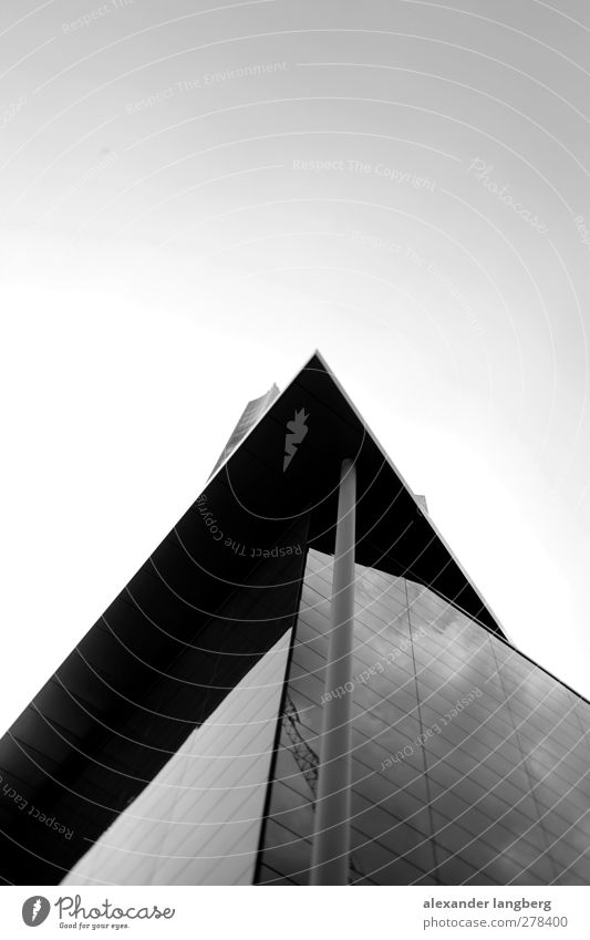 mirror. Concrete Glass Metal Black & white photo Copy Space top Section of image Modern architecture Upward Skyward Glas facade Corner