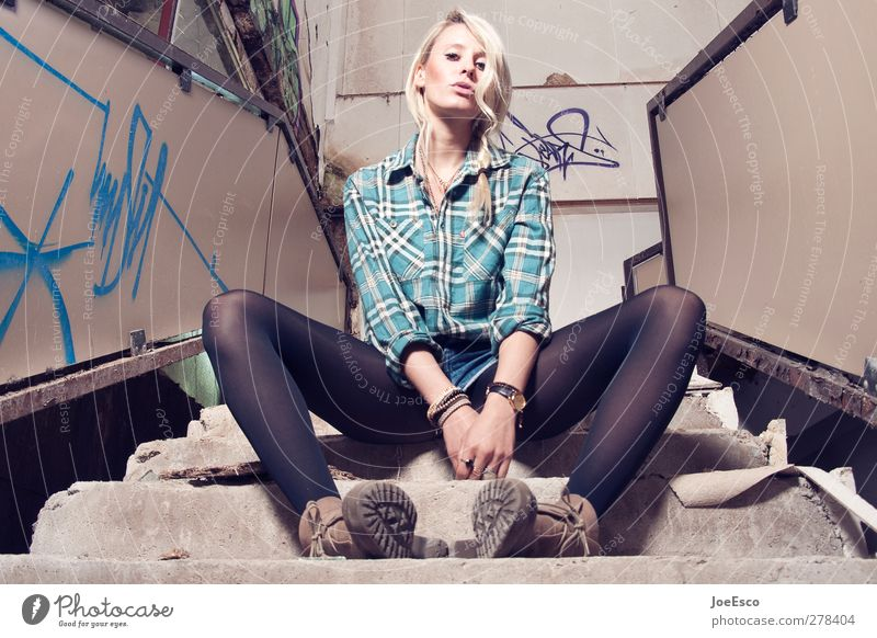 #233499 Style Night life Woman Adults 1 Human being 18 - 30 years Youth (Young adults) Stairs Fashion Shirt Tights Boots Blonde Observe Relaxation Sit Authentic
