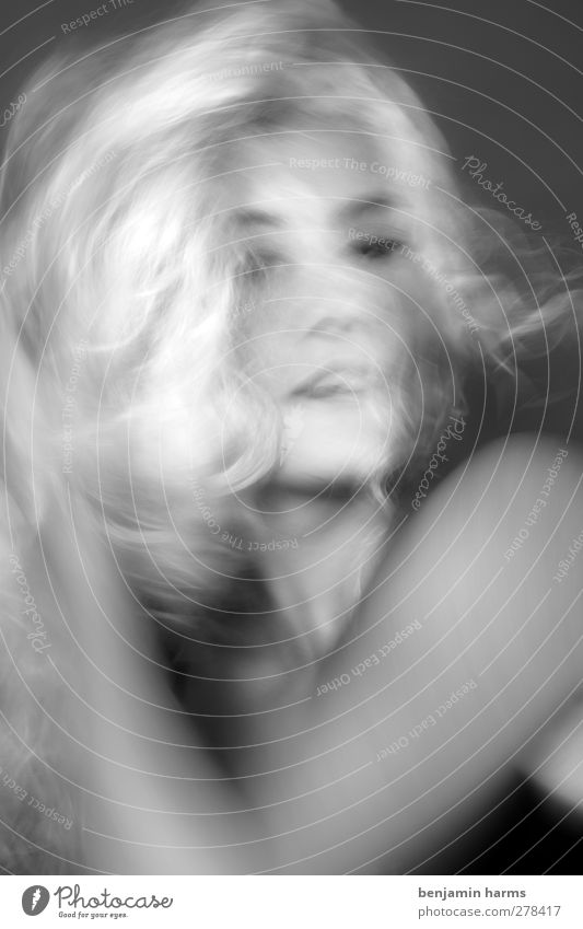 weird world Feminine Young woman Youth (Young adults) 1 Human being 18 - 30 years Adults Blonde Long-haired Curl Movement Eroticism Blur Black & white photo