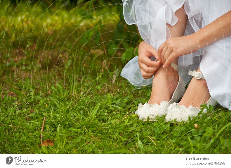 Girl in the grass Elegant Summer Human being Feminine Youth (Young adults) Hand Fingers Feet 1 8 - 13 years Child Infancy Dress Communion Footwear Touch Sit