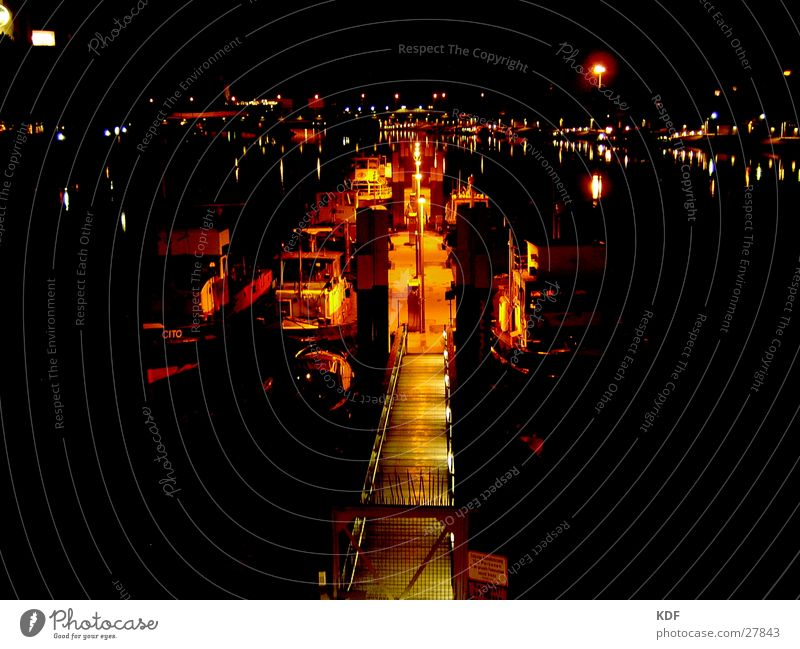 ships Weser Bremen Watercraft Night Jetty Dusk Eerie Lomography River KDF long-term pickling Shadow Light Orange