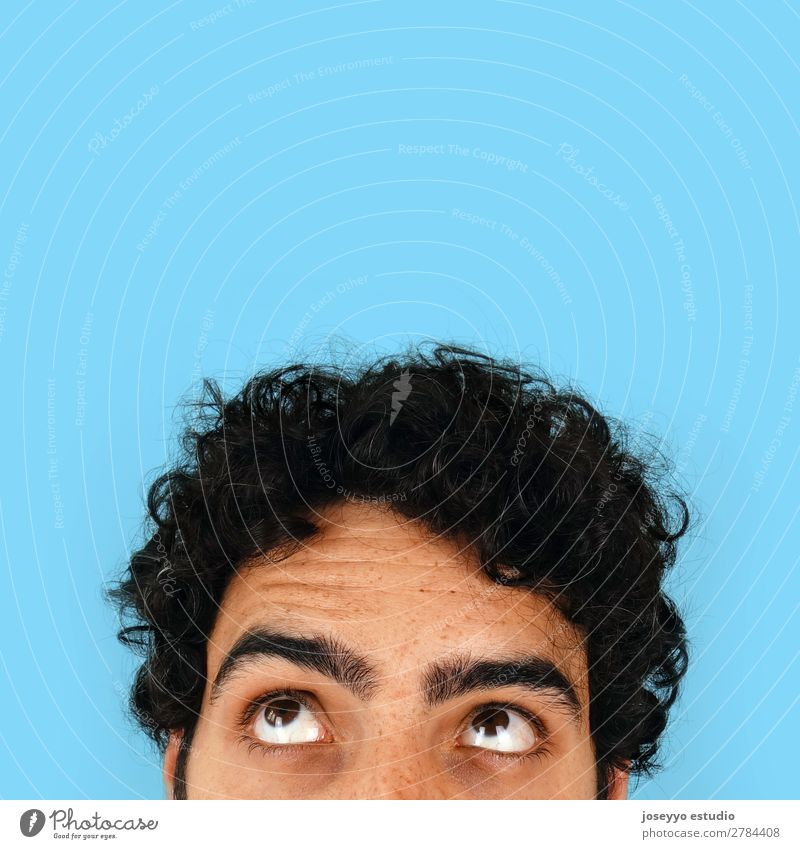 Thinking man with copy space on his head. Man Adults Eyes 30 - 45 years Brunette Curl Cool (slang) Funny Crazy Creativity Curiosity cheerfull Clever