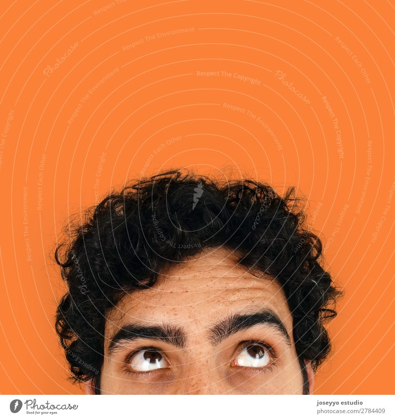 Thinking man with copy space on his head. Advertising background Banner Brunette Business Cheerful Clever Close-up communication Conceptual design corner