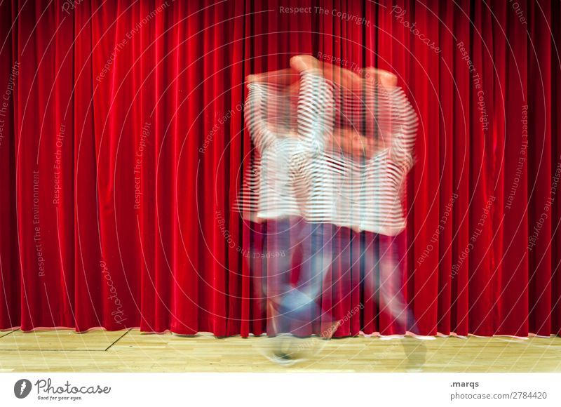 Ballerina Entertainment Event Dance Man Adults 1 Human being Stage Dancer Shows Stage lighting Drape Movement Red Joy Esthetic Uniqueness improtheater Improvise